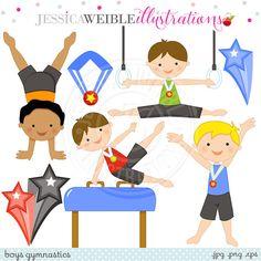 Boys Gymnastics Cute Digital Clipart by JWIllustrations on Etsy
