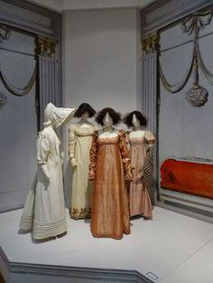 1) Morning dress, 1825.  2) Day dress, 1810-15.  3) Day dress, 1800-10.   4) Day dress, 1815.