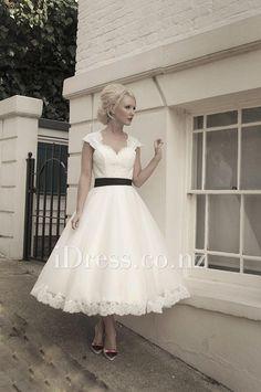 black ribbon cap sleeve ivory lace scalloped tea length vintage wedding dress tulle skirt