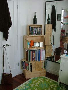 Diy back to school : DIY Wine Crate Bookshelf