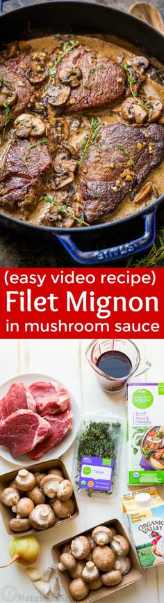 This pan-seared Filet Mignon recipe really is our go to recipe for filet mignon. Melt-in-your mouth tender and every bite is so flavorful in that mushroom wine cream sauce. Watch the video tutorial on how to cook the best filet mignon. | natashaskitchen.com
