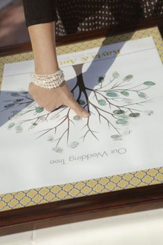Amazing guest book idea - thumb print into a tree (or petals of a fower) and get people to initial/sign by theirs