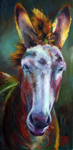 lovely choice of colors! Look at the purples and blues on the nose of this animal. High five to this artist!