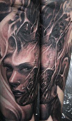 hybrid woman by guil zekri #reinkarnationtattoos #tattoos #blackandgrey