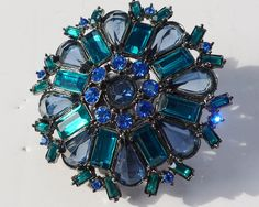 Vintage Brooch Pin Blue Rhinestones Claw Setting - pinned by pin4etsy.com