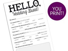 WEDDING GUEST CARD  $10 PDF to print out, could edit for engagement.