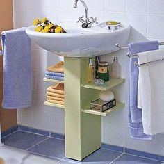 Under a bathroom sink, even a pedestal sink unit, you can add extra storage that. - Under a bathroom sink, even a pedestal sink unit, you can add extra storage that won& take up - Space Saving Bathroom, Small Bathroom Storage, Bathroom Organization, Organization Ideas, Simple Bathroom, Bathroom Ideas, Budget Bathroom, Kitchen Storage, Shower Ideas