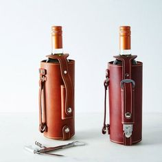 Gifts for Men: A handcrafted wine tote (made from vegan leather!) is perfect for picnics on the beach, and it earns its keep with a clip-on opener so you never have to worry about forgetting to bring one again. | CoastalLiving.com