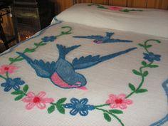 Gorgeous Vintage Chenille Blue Bird Bedspread. $85.00, via Etsy.