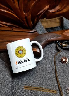 Enjoy your favourite beverages and drinks in this mug on the theme of clay pigeon shooting! The Tonjäger mug reminds its owner of a common piece of advice heard at the shooting range… Clay Pigeon Shooting, Shooting Range, Beverages, Drinks, Advice, Mugs, Tableware, Design, Drinking