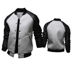 Cool College Baseball Jacket Men 2017 Fashion Design Black Pu Leather Sleeve Mens Slim Fit