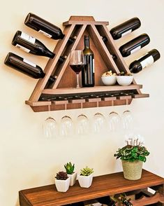 Wine Rack DIY - wine bottle and glasses storage with shelf… Bar Pallet, Pallet Wine Rack Diy, Rustic Wine Racks, Wood Projects, Woodworking Projects, Woodworking Plans, Barrel Projects, Woodworking Store, Woodworking Classes