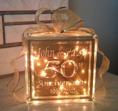 50th Anniversary Glass Block  35 Xpressables com  Unique Anniversary  Gifts50th Wedding  50th wedding anniversary ideas   50th wedding anniversary ideas  . Gift Ideas For 50th Wedding Anniversary. Home Design Ideas