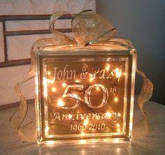 50th Anniversary Glass Block $35 Xpressables.com