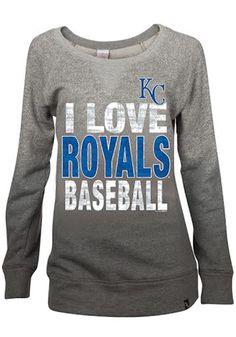 Kansas City Royals Womens Crew Sweatshirt - Grey Royals Love Dip Dyed Mocktwist Long Sleeve Sweatshirt