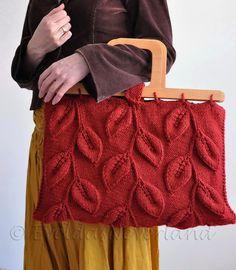A Walk Among Trees - unique designer leafy handbag with wooden handles in burnt orange - eco-fashion by EveldasNeverland, $266.00