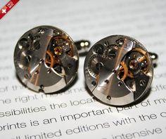 Extravagant Steampunk cufflinks watch mechanism Silver Plated Backs SWISS MADE - WARRANTY