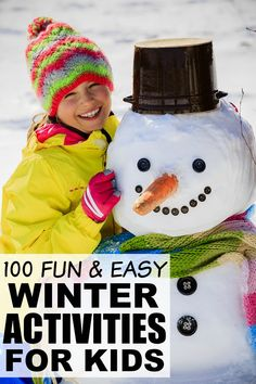 If the cold and miserable weather is giving you and your kids a serious case of cabin fever, but you can't fathom the idea of building another snowman, playing another game of Crazy Eights, or vacuuming playdoh out of your carpet one more time, this collection of 100 winter activities for kids is just what you need! It is FILLED with fantastic boredom busters for kids, and while some activities will require preparation and participation on your part, others will give you a few moments to cook dinner (and check your Facebook feed) in peace. Good luck!