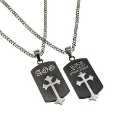 """Christian Mens Black and Silver Stainless Steel Abstinence """"AOG - Armor Of God - Ephesians 6:10-18"""" Old English Cross Chastity Necklace for Boys on a 20"""" Curb Chain - Guys Purity Necklace Spirit & Truth. $38.95"""