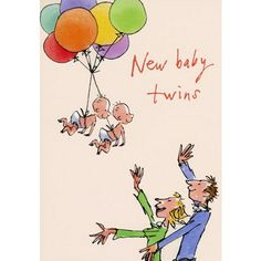 New baby twins card illustrated by Quentin Blake with two new babies arriving by balloon! Priced at £2.05