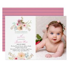 Girls Floral BAUTIZO Bautismo Pink Catholic Cross Invitation #pink #flowers #floral #cross #girls #Invitation