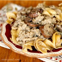 Healthy Hamburger Stroganoff - This #30minutemeal will please your whole family! via wearychef.com