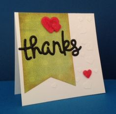 Thank you card made with Lawn Fawn's Scripty Thanks. Texture paste, Wink of Stella and Glossy Accents.