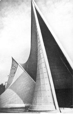 Lucien Hervé, Philips Pavilion, c. 1958. Archival exhibition print, 18 1/2 x 11 7/8 inches. Image courtesy of Fondation Le Corbusier