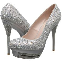 Coloriffics A320 (Silver) High Heels ($63) ❤ liked on Polyvore featuring shoes, pumps, silver, silver platform shoes, silver high heel shoes, sparkly pumps, slip on shoes and silver sparkly shoes