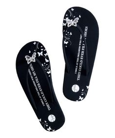 Take a look at this Black Butterfly Flip-Flops by GTDD on #zulily today!
