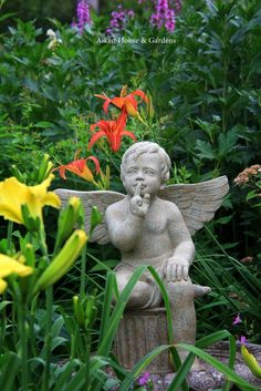 Have to remember to put some of my favorite statues between the flowers! From my favorite Aiken House & Gardens Garden Front Of House, Home And Garden, Prayer Garden, Ange Demon, Garden Angels, Angel Statues, Buddha Statues, Garden Statues, Cement Statues