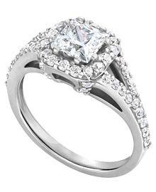 Conflict free diamond.. 14K White Gold Princess Halo Engagement Ring with Round Diamond Sidestones (.69 ct. tw.)
