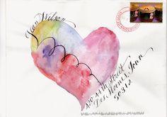 pushing the envelopes: from smash - drum+heart Hand Lettering Envelopes, Mail Art Envelopes, Handwritten Letters, Diy Envelope, Envelope Design, Envelope Addressing, Creative Lettering, Lettering Styles, Letter Art