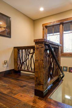 Diy Stair Railing, Wood Railing, Railing Design, Staircase Design, Railings, Log Home Interiors, Cottage Interiors, Interior Handrails, Rustic Staircase