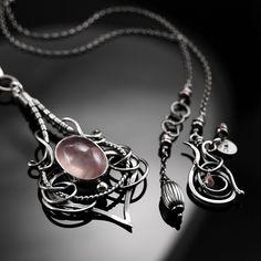 Fantine - ekskluzywny srebrny naszyjnik z kwarcem różowym wykonany ręcznie / CIBA / Biżuteria / Naszyjniki