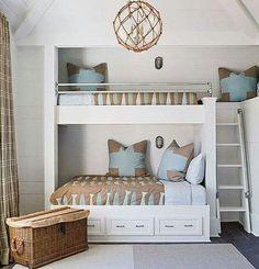 House of Turquoise: Bunk Room Bunk Beds Built In, Bunk Bed Rooms, Kids Bunk Beds, Loft Beds, House Of Turquoise, Turquoise Bedrooms, Home Bedroom, Girls Bedroom, Bedroom Beach