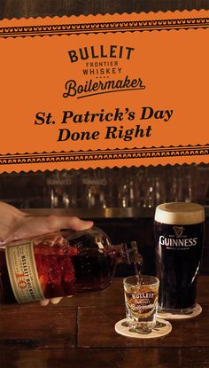 Celebrate St. Patrick's Day by pairing a beer and a shot. The Bulleit Boilermaker is like giving Ireland a high-five all the way from Kentucky. Drink Bulleit Bourbon for the rich caramel notes, Guinness for the dark chocolate flavors.  The recipe is easy. Simply pour 1.3 oz Bulleit Bourbon 10 Year Old and pair it with a 12 oz Guinness Stout. To best experience this two-drink serve, alternate between sipping Bulleit and slowly drinking your beer to discover unique flavor profiles.