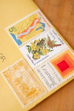 I'm trying to do multiple stamps on our Christmas cards, like this, but vintage stamps are $$, so I'm just using what they have at the postal!