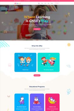 Kidzo is a creative best kids & children learning & activities WordPress Theme. This WordPress theme is targeted for kids, children – their education, schooling, and other activities. Kids Learning Apps, Learning Activities, Kids Web, Wordpress Theme Design, Kids Story Books, Educational Programs, Landing Page Design, Kids Events, Kids Education