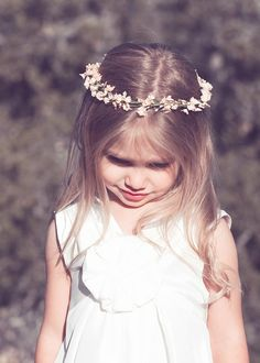 Simple flower girl crown of petite soft pink blooms- we will use wax flower, and will accent with a few small ranunculus buds. This will be a crown that can hold up to the abuse of a 3 year old!