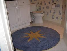 Beau Blue Round Bath Rug With Yellow Star