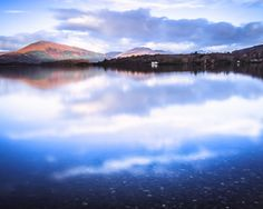 Oversized Scottish Wall Art. Romantic Loch Lomond - Very Large Wall Decor - Scottish Landscape Photography - Blue and amber