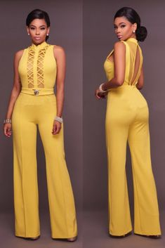 Compre Macacão Pantalona Festa Com Recortes Hot Outfits, Fashion Outfits, Casual Outfits, Mode Kimono, Jumpsuit Dressy, New Fashion Trends, African Fashion Dresses, Jumpsuits For Women, Cute Fashion