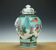 Huge-Chinese-Porcelain-Famille-Verte-Vase-Cover-19th-C-Interior-TOP-43CM-$3350 Qing-period@ebay
