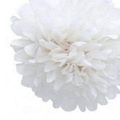 Pompon en papier blanc pour decoration de mariage