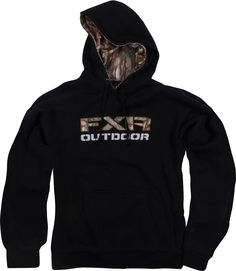 FXR Racing - Snowmobile Gear - Men's Outdoor Pullover Hoodie - Black