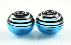 Aqua and Black Swirls Lampwork Glass Bead Pairs by AlishaWhite, $8.50