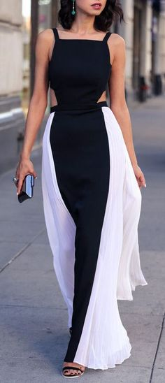 Black & White Cutout Maxi Dress || Street Fashion