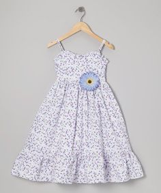 Take a look at the Purple & White Floral Dress & Daisy Pin - Toddler & Girls on #zulily today!