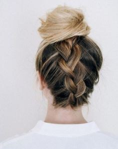 Pinterest hair buns Inverted French Braided Bun